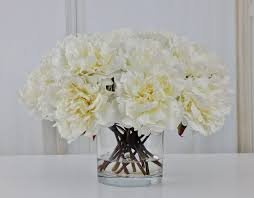 Modern Flower Vase Arrangements Large White Peony Peonies Silk Modern Floral Arrangement