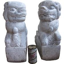 foo dog sculpture pair of large carved foo dog foo lions temple guardian