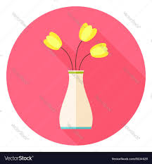flat vase with tulip flowers circle icon with long