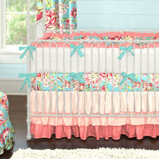 coral and teal floral baby crib bedding ombre teal and coral