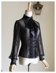 gothic ruffle neck long sleeve shirt blouse jabot zircon set retro