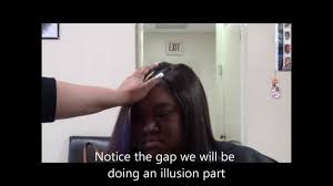 weave no leave out hairstyle brazillian full sew in natural hair illusion part no leave out youtube