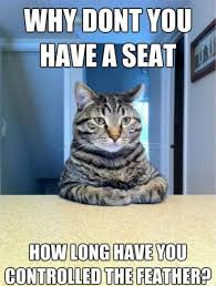 Cat Sitting Meme - picture of funny cat sitting behind a desk saying explain to me