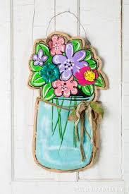 rain boot with flowers spring door hanger spring by artbyaudet