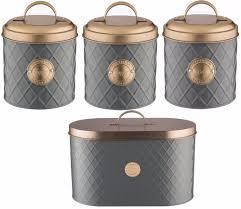 Copper Kitchen Canisters Typhoon Copper Lid Tea Coffee Sugar Set Canister Bread Bin Bread