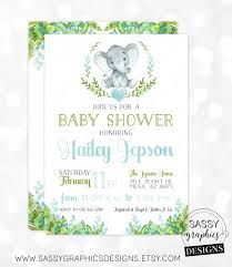 elephant boy baby shower invitation baby boy invite watercolor