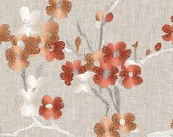 Peach Floral Curtains Navy Orange Floral Upholstery Drapery Fabric Orange Navy