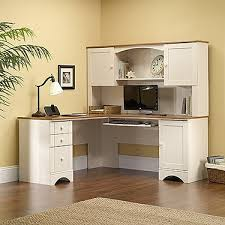 White Office Desk With Hutch White Antiqued L Shaped Corner Desk With Included Hutch Desks