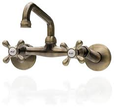 antique style brass wall mounted faucet with adjustable cross