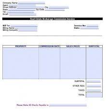 free real estate brokerage commission invoice template excel