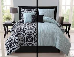 Black And White Damask Duvet Cover Queen 5pc Luxury Kennedy Black White Teal Reversible Comforter Set