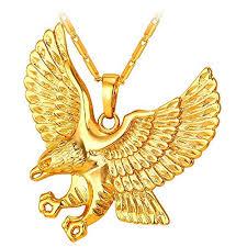 golden pendant necklace images U7 brave man hawk necklace 18k gold plated eagle pendant necklaces jpg