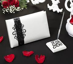 black wedding guest book black and white scroll wedding accessories