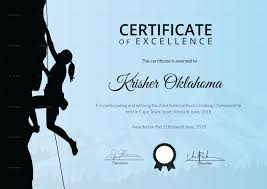 rock climbing training certificate design template in psd word