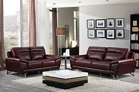 Genuine Leather Sofa And Loveseat Cortesi Home Phoenix Genuine Leather Sofa Collection Merlot Sofa