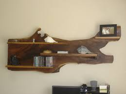 Decorative Wooden Shelf Edging Antique Log Wood Wall Shelf As Display Uses In Brown Color Scheme