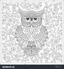 exotic birdfantastic flowersbranches leaves coloring page stock