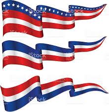 white blue ribbon shiny patriotic ribbon banner set white and blue stock vector