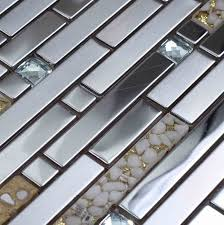 Tile Borders For Kitchen Backsplash Silver Metal Mixed Sea Shell Resin Glass Mixed