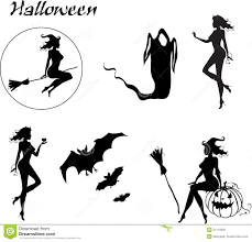 set of halloween silhouettes royalty free stock image image
