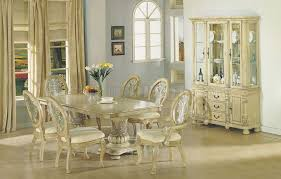 Antique White Finish Dining Table WDouble Pedestal Base - Round pedestal dining table in antique white