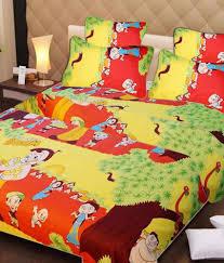 Snapdeal Home Decor Singhs Villas Decor 3d Chota Bheem Kids Double Bedsheet With 2