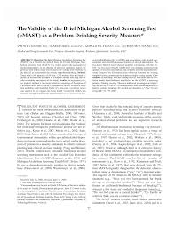 the validity of the brief michigan alcohol screening test bmast
