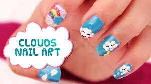 how to do rainbow nails rainbow nail arts tutorials cute cloud