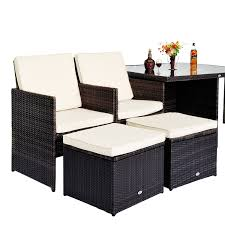 Pc Rattan Garden Furniture Aluminium Outdoor Patio Set Cube Weave - Rattan outdoor sofas