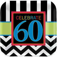 celebrate 60 birthday 60th birthday celebration square paper dessert plate 7in 8ct