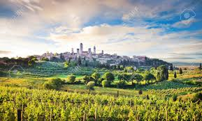 beautiful landscape with the medieval city of san gimignano at