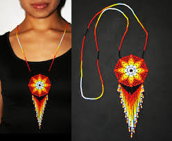 beaded jewelry necklace images Medallion necklace huichol jewelry native american style jpg