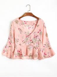 floral blouse half buttoned ruffles floral blouse pink blouses s zaful