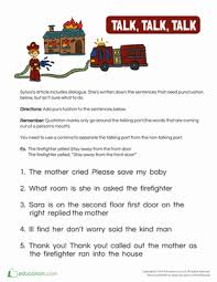 quotation mark worksheets for young writers education com