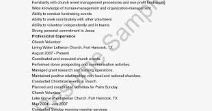Resume For Volunteer Work Sample by 28 Church Volunteer Resume Examples Community Volunteer
