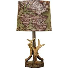 camo home decor mossy oak deer antler accent lamp dark woodtone table lamps