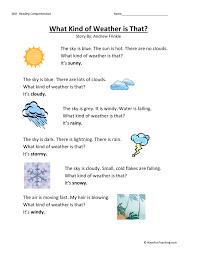 Kindergarten Weather Worksheets Kindergarten Reading Comprehension Worksheet What Of