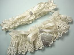 personalized engraving garters personalized ivory wedding garter set in venise lace with