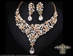 chunky crystal necklace jewelry images Crystal wedding jewelry set gold statement necklace vintage jpg