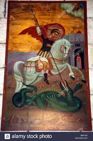 painting of st george slaying a dragon on the wall in the new painting of st george slaying a dragon on the wall in the new church st george s