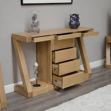 modern nest of tables uk z shape solid oak large hall console table with drawers oak