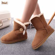 sheepskin leather mid calf suede women winter snow boots with
