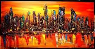 abstract handmade painting modern contemporary kazav ny cityscape original p