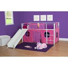 Girl Twin Loft Bed With Slide White And Pink COMPONENT - Girls bunk beds with slide