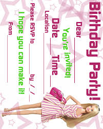 Barbie Themed Invitation Card Barbie Coloring Pages