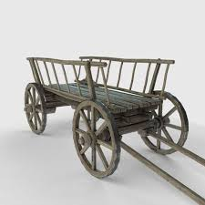 3d asset wooden cart low poly model cgtrader
