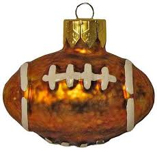 package of 6 small glass football ornaments sports and