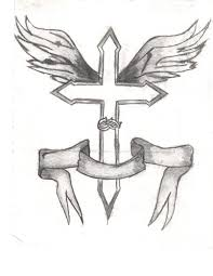 drawing cool cross drawings with wings with cool easy cross