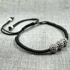 black bracelet white gold images Gentstone men 39 s bracelet triple black cz diamond ball macrame jpg
