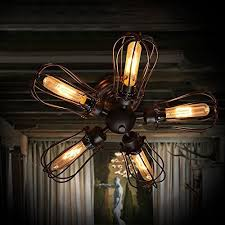 5 Light Ceiling Fan Efinehome Efine 5 Lights Vintage Industrial Pomelo Cage To